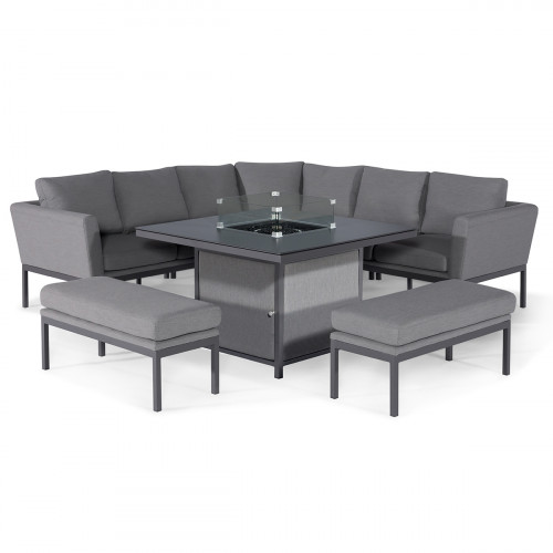 Pulse Deluxe Square Corner Dining Set - with Firepit Table / Flanelle