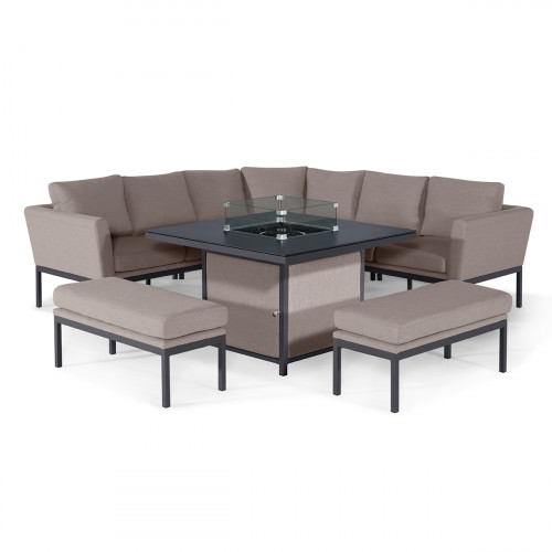 Pulse Deluxe Square Corner Dining Set - with Fire Pit Table / Taupe
