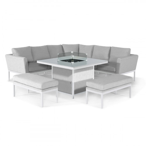 Pulse Deluxe Square Corner Dining Set - with Fire Pit Table / Lead Chine