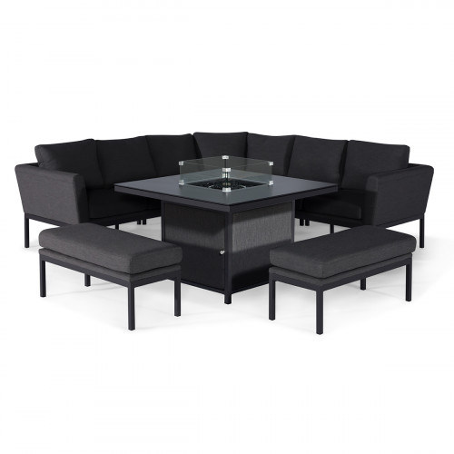 Pulse Deluxe Square Corner Dining Set - with Fire Pit Table / Charcoal