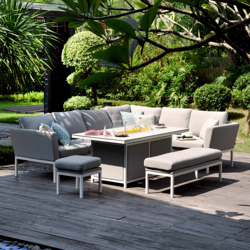 Pulse Rectangular Corner Dining Set - With Fire Pit Table / Lead Chine