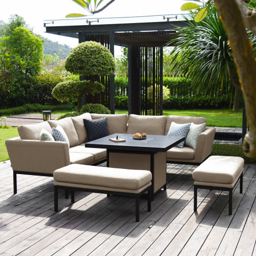 Pulse Square Corner Dining Set - With Fire Pit Table / Taupe