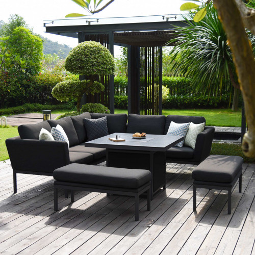 Pulse Square Corner Dining Set - With Fire Pit Table / Charcoal