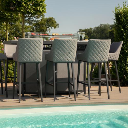 Regal 8 Seat Rectangular Fire Pit Bar Set / Flanelle