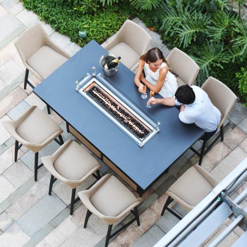 Regal 8 Seat Rectangular Fire Pit Bar Set / Taupe
