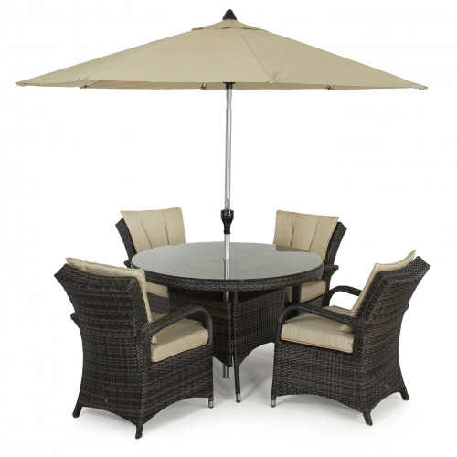 Texas 4 Seat Round Dining Set with Parasol/ Brown