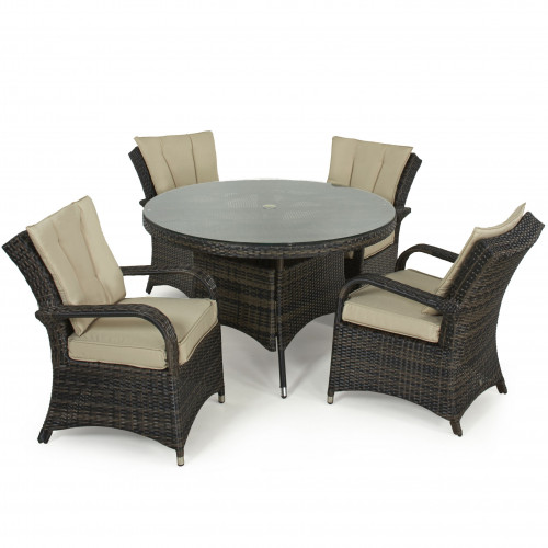 Texas 4 Seat Round Dining Set / Brown