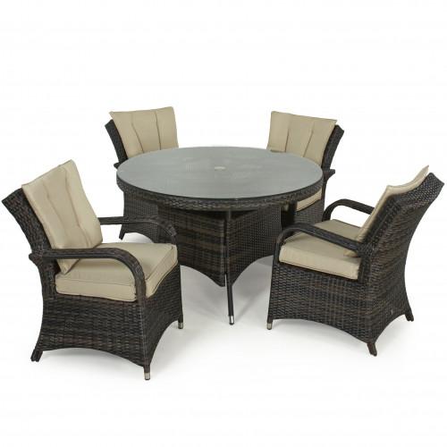 Texas 4 Seat Round Dining Set / Brown