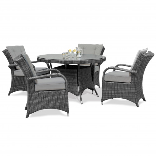 Texas 4 Seat Round Dining Set / Grey