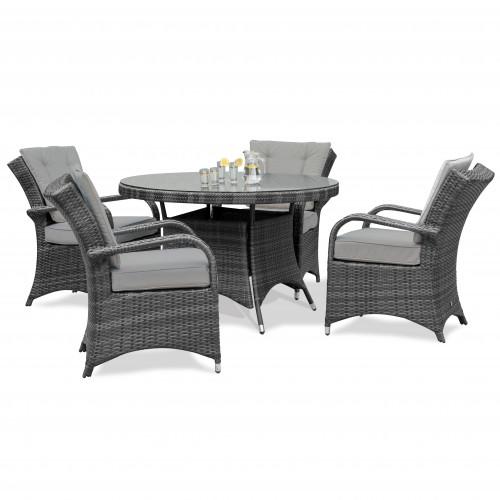 Texas 4 Seat Round Dining Set / Grey