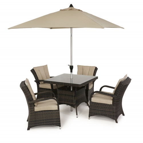 Texas 4 Seat Square Dining Set with Parasol/ Brown