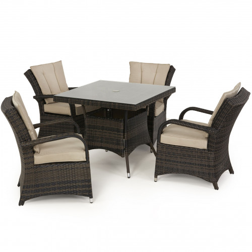 Texas 4 Seat Square Dining Set / Brown