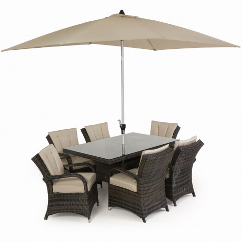 Texas 6 Seat Rectangle Dining Set with Parasol/ Brown