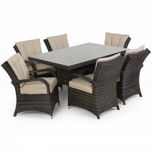 Texas 6 Seat Rectangle Dining Set / Brown