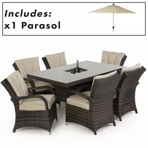 Texas 6 Seat Rectangle Ice Bucket Dining Set with Parasol/ Brown