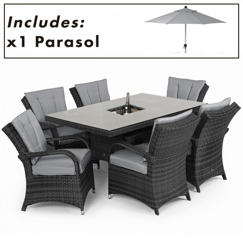 Texas 6 Seat Rectangle Ice Bucket Dining Set with Parasol/ Grey