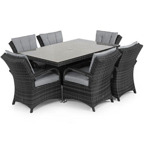 Texas 6 Seat Rectangle Dining Set / Grey