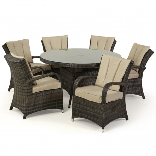Texas 6 Seat Round Dining Set / Brown