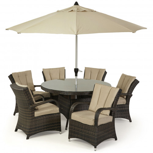 Texas 6 Seat Round Dining Set with Parasol/ Brown