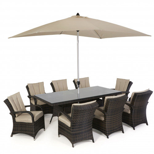 Texas 8 Seat Rectangle Dining Set with Parasol/ Brown