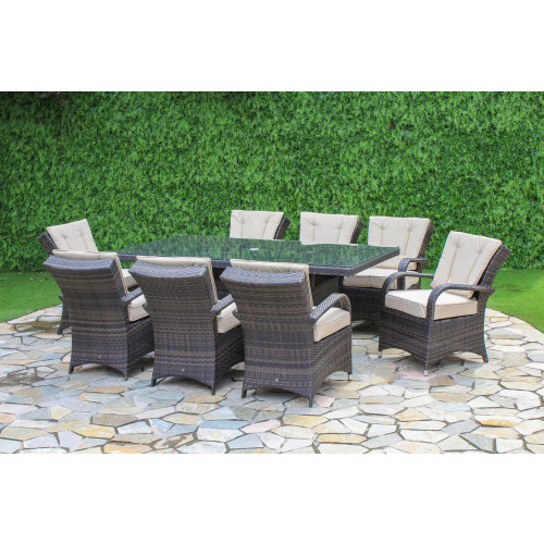 Texas 8 Seat Rectangle Dining Set / Brown