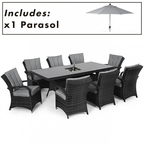 Texas 8 Seat Rectangle Ice Bucket Dining Set with Parasol/ Grey