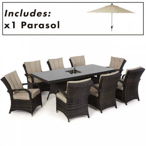 Texas 8 Seat Rectangle Ice Bucket Dining Set with Parasol/ Brown