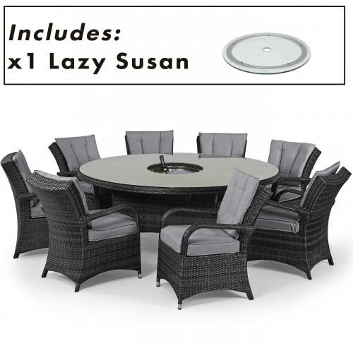 Texas 8 Seat Round Ice Bucket Dining Set with Ls / Grey