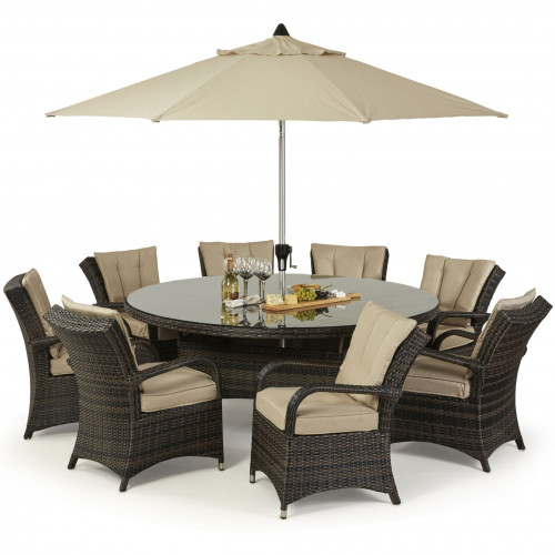 Texas 8 Seat Round Dining Set with Parasol/ Brown