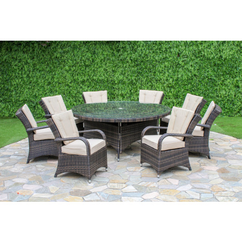 Texas 8 Seat Round Dining Set / Brown