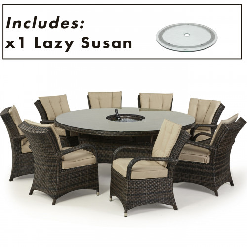 Texas 8 Seat Round Ice Bucket Dining Set with Ls / Brown