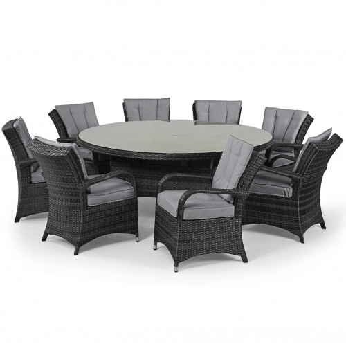 Texas 8 Seat Round Dining Set / Grey