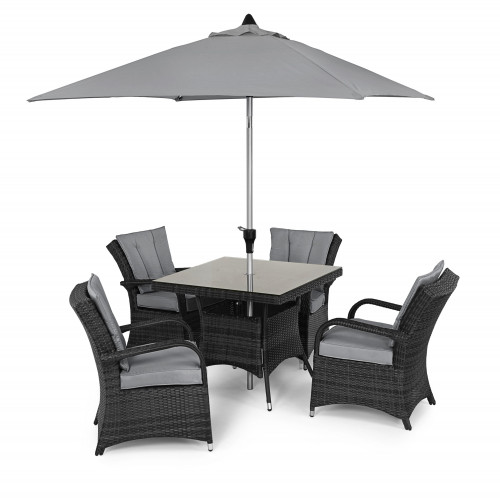 Texas 4 Seat Square Dining Set with Parasol/ Grey