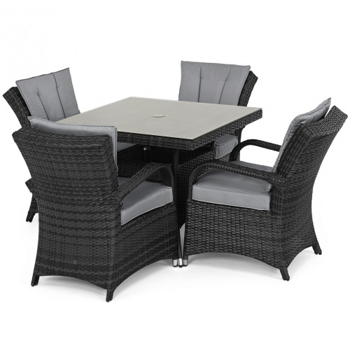 Texas 4 Seat Square Dining Set / Grey