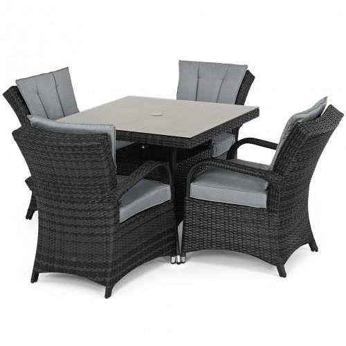 Texas 4 Seat Square Dining Set / Grey
