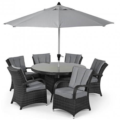 Texas 6 Seat Round Dining Set with Parasol/ Grey