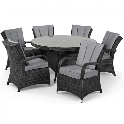 Texas 6 Seat Round Dining Set / Grey