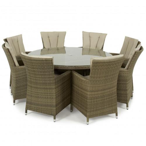 Tuscany 8 Seat Round Dining Set / Natural
