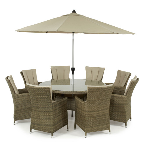 Tuscany 8 Seat Round Dining Set with Parasol/ Natural