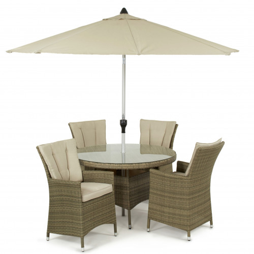 Tuscany 4 Seat Round Dining Set with Parasol / Natural