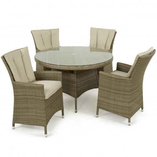 Tuscany 4 Seat Round Dining Set / Natural