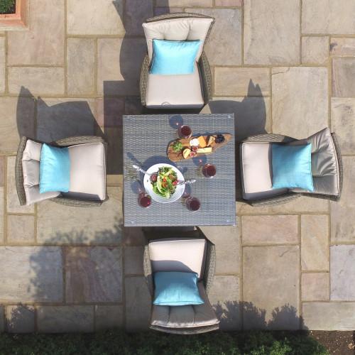 Tuscany 4 Seat Square Dining Set / Natural