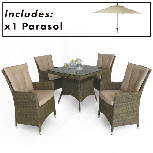 Tuscany 4 Seat Square Dining Set with Parasol/ Natural