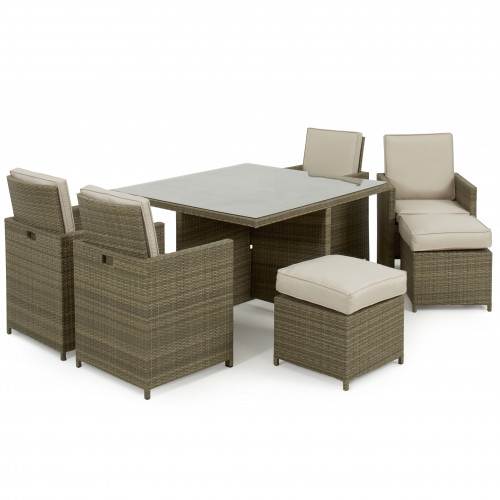 Tuscany Cube 5pc with Footstools / Natural