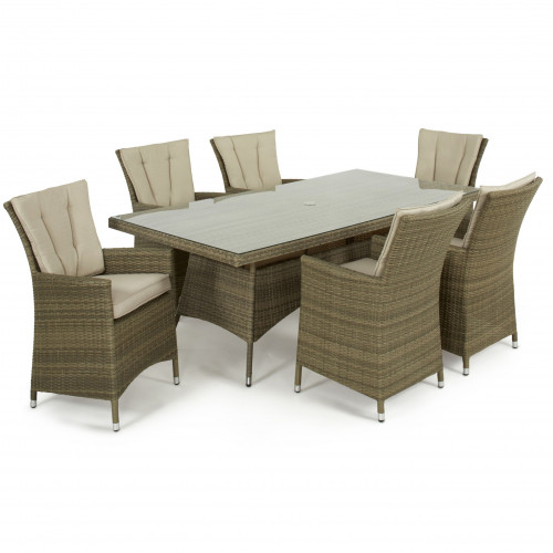 Tuscany 6 Seat Rectangle Dining Set / Natural
