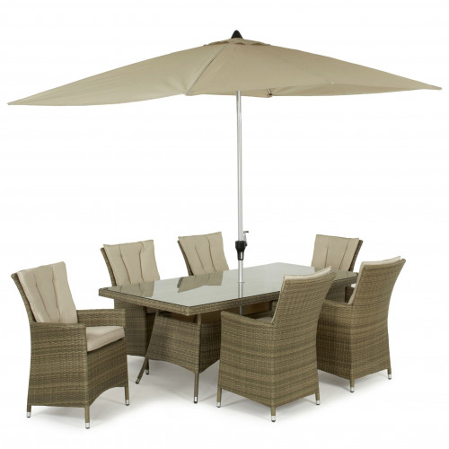 Tuscany 6 Seat Rectangle Dining Set with Parasol/ Natural