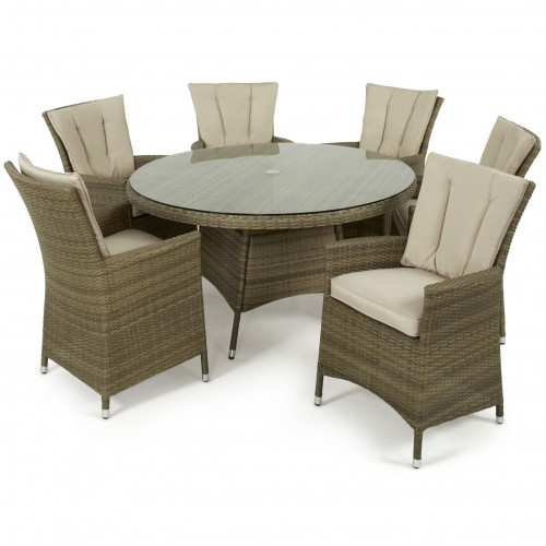Tuscany 6 Seat Round Dining Set / Natural