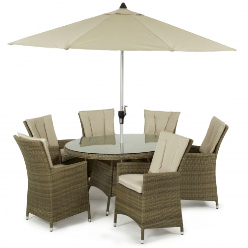 Tuscany 6 Seat Round Dining Set with Parasol/ Natural