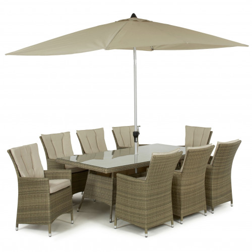 Tuscany 8 Seat Rectangle Dining Set with Parasol/ Natural