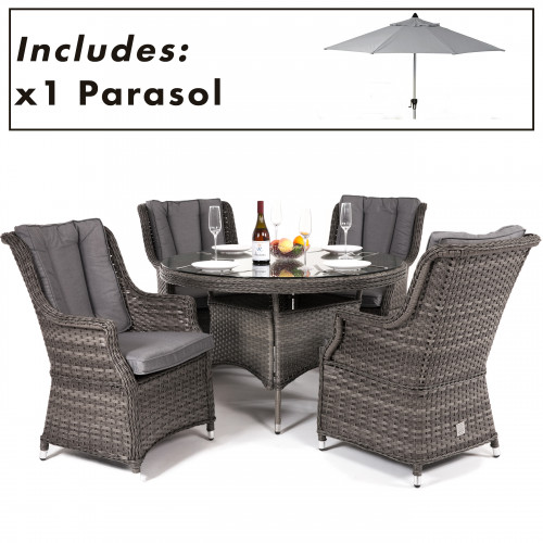 Victoria 4 Seat Round Dining Set with Square Chairs and Parasol